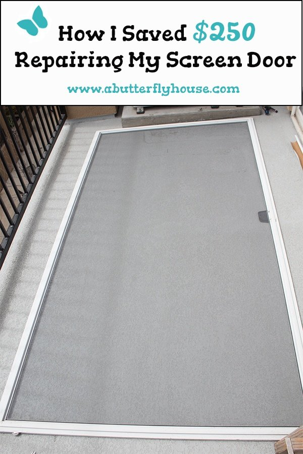 Save money on a budget by doing your own DIY Screen Repair. Super easy tutorial to repair a screen door or window anyone can do. #budget #windows #doors #repair #screenrepair #AButterflyHouse