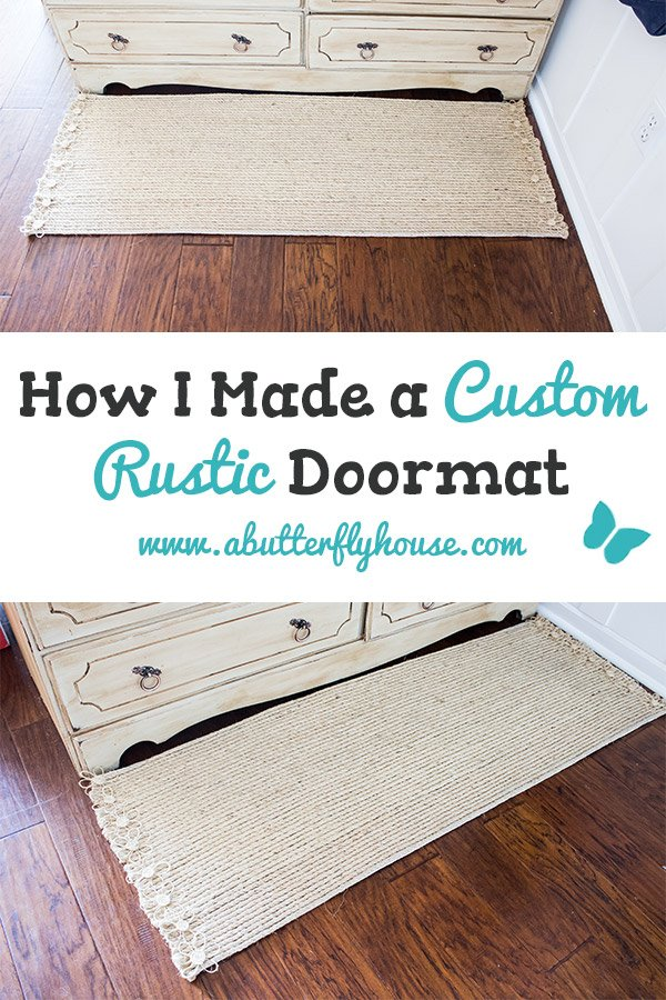 A super easy DIY Custom Rustic Doormat tutorial to improve your entryway or mudroom. #DIY #DIYProjects #Rugs #Doormat #Entryway #Mudroom #AButterflyHouse