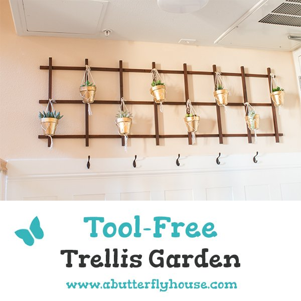 Make a DIY trellis wall planter garden in just a few hours with this straightforward tutorial. #DIY #DIYProjects #Planters #DIYDecor #AButterflyHouse