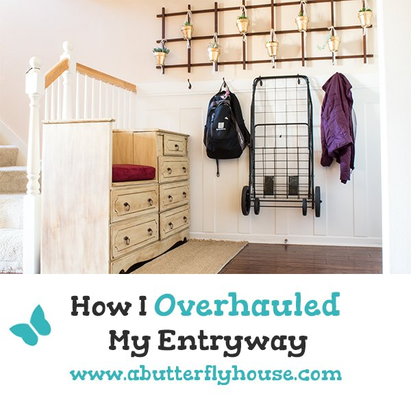 How I completely transformed my entryway into a functional and organized mudroom full of tons of storage. #RoomReveal #BeforeAndAfter #Organization #StorageIdeas #Mudrooms #Entryways #AButterflyHouse