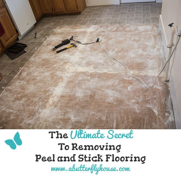 Find out the easiest way to remove your peel and stick floor tile. # AButterflyHouse #Flooring #PeelAndStickTile #Demolition