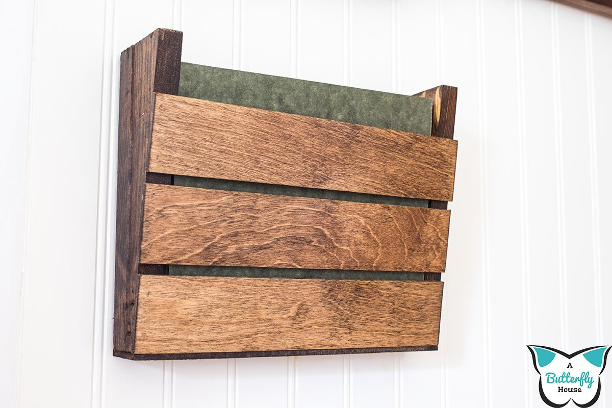 Build a small, beautiful farmhouse wood wall organizer for your office, mudroom, entryway, garage, or kitchen! This step by step DIY tutorial gives you all the details of how I built my organizer out of scrap wood! #AButterflyHouse #Organizer #WallOrganizer #DIY #DIYProjects #Tutorial #Mudroom #Farmhouse #FarmhouseDecor #ScrapWood