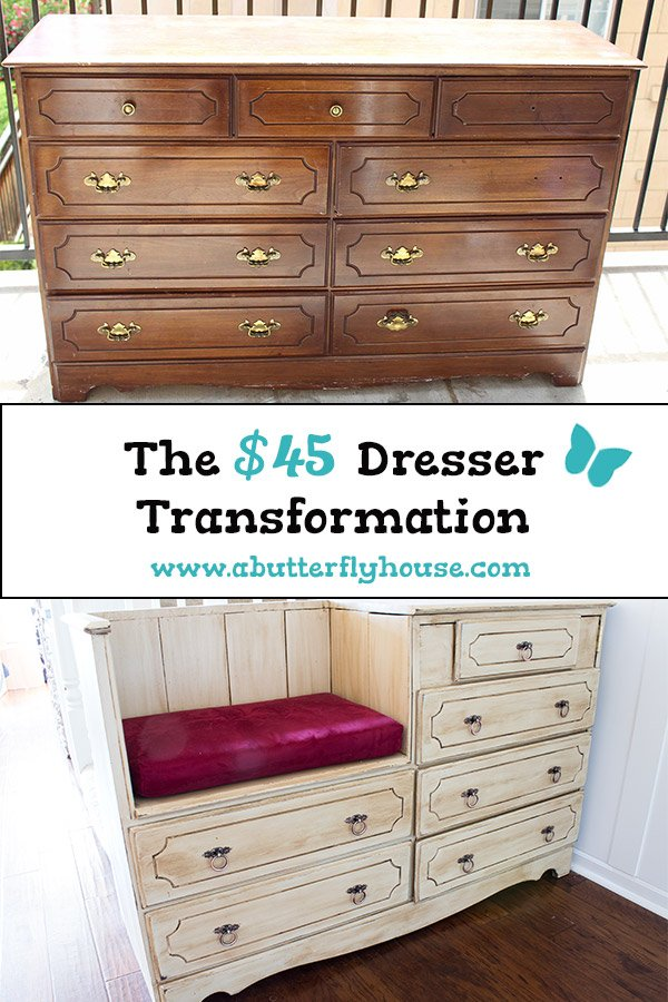 Complete tutorial of how I transformed a broken thrift store dresser into something beautiful and functional. #BeforeAndAfter #BeforeAndAfterFurniture #FurnitureMakeover #Dresser #FurnitureFlip #Furniture #ThriftStoreFurniture #DIY #AButterflyHouse