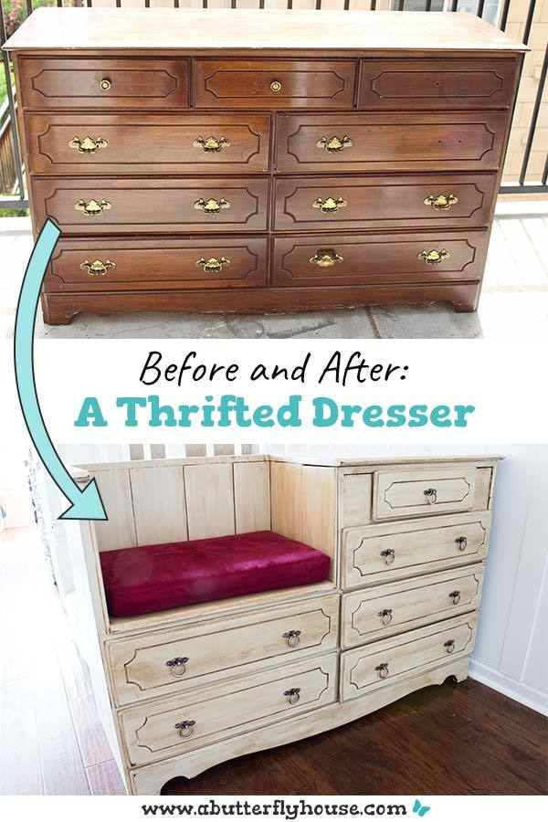 Complete tutorial of how I transformed a broken thrift store dresser into something beautiful and functional. #FurnitureFlip #BeforeandAfter