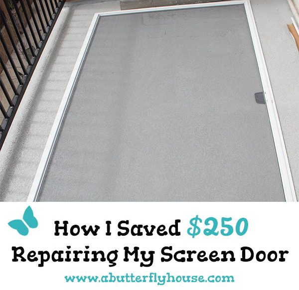Save money on a budget by doing your own DIY Screen Repair. Super easy tutorial to repair a screen door or window anyone can do. #budget #windows #doors #repair #screenrepair