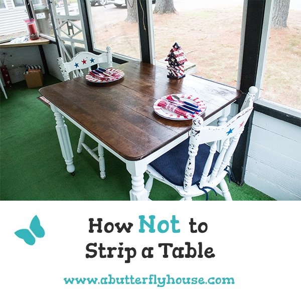 See the complete DIY transformation of a super old table into something functional and pretty. #DIYProjects #DIY #Furniture #FurnitureProjects #FurnitureFlip #BeforeAndAfter #BeforeAndAfterFurniture #Table #FurnitureMakeover #TableMakeover #AButterflyHouse