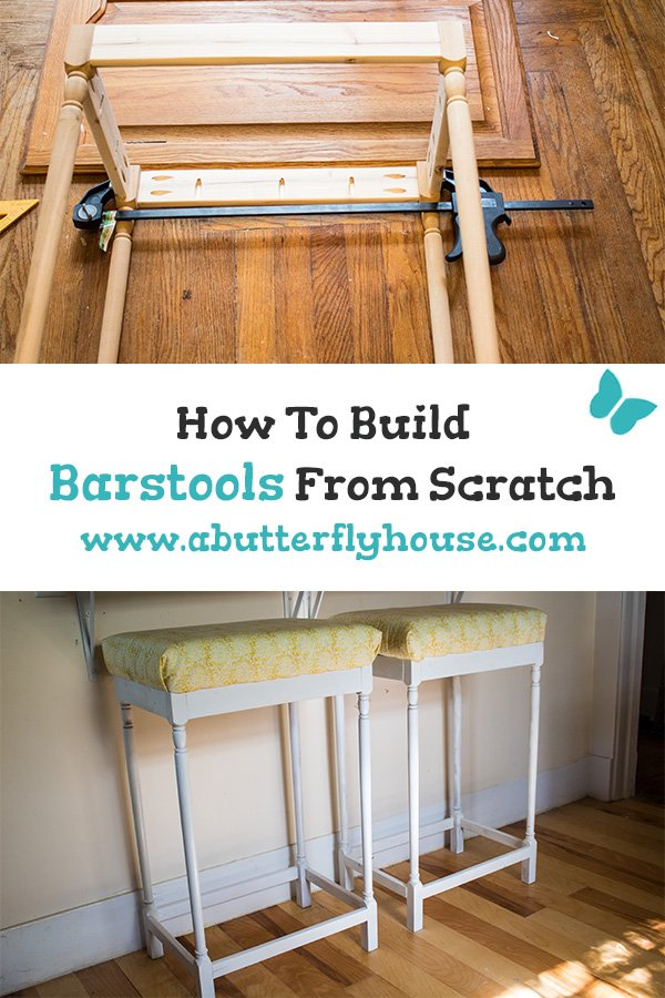 Complete tutorial of how I built two barstools for my kitchen from scratch using leftover butcherblock and spindles from Habitat for Humanity. #AButterflyHouse #DIYFurniture #Barstools #DIY #DIYProjects #Furniture