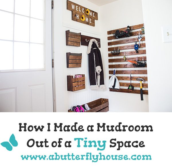 Come see all the details about how I turned a tiny corner into an organized storage area. This DIY mudroom project keeps the whole back of the house clean. #AButterflyHouse #Entryway #Mudroom #StorageIdeas #Organization #Beadboard #DIY #DIYProjects #HomeImprovement