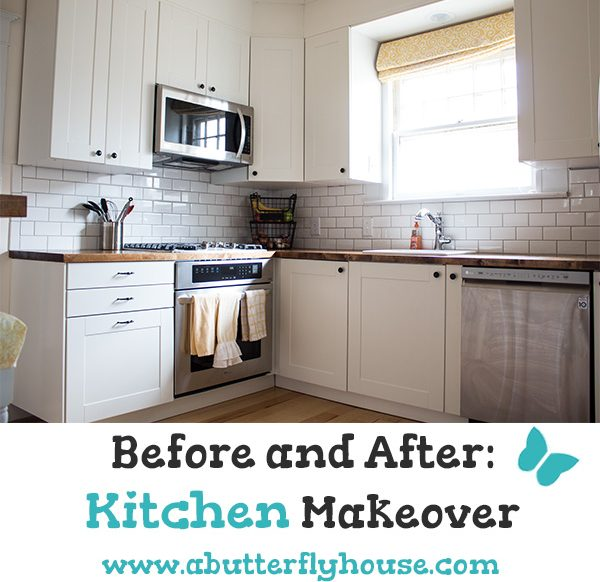 See how I remodeled and organized a completely dysfunctional kitchen in this room reveal. The kitchen makeover was completely DIY, and took a total of four months! #AButterflyHouse #DIY #DIYProjects #Kitchen #BeforeandAfter #RoomReveal #Organization #HomeImprovement