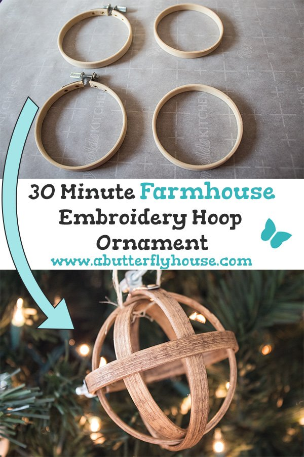 These rustic farmhouse DIY Christmas Ornaments are quick, easy and cheap, and will look great on my tree! #AButterflyHouse #DIY #DIYProjects #DIYOrnaments #ChristmasOrnaments #Farmhouse #BudgetDIY #30MinuteCrafts