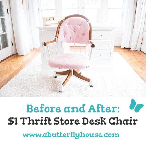 Check out this thrift store desk chair before and after! A bit of fabric and spray paint went along way in this furniture flip! #FurnitureFlip #ThriftStoreFurniture