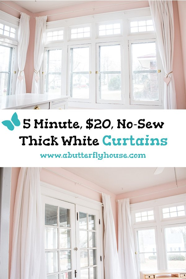 Need some budget curtains? Check out this easy diy for thick, quick, and cheap DIY curtains made from drop cloths and sheets! #AButterflyHouse #DIY #Curtains #Budget #HomeImprovement #WindowTreatments