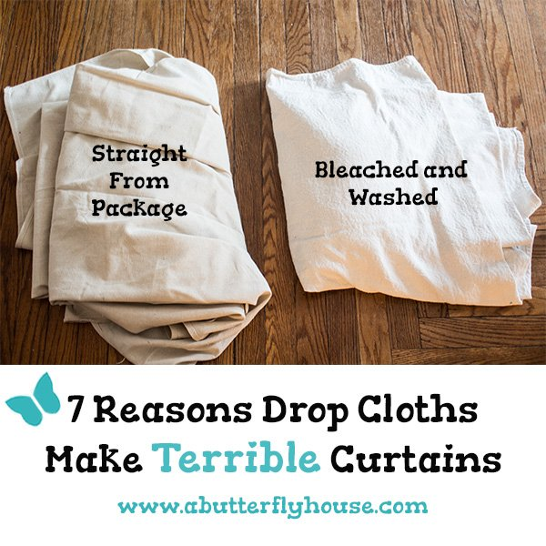 Thinking of making cheap budget DIY Drop Cloth Curtains? Don't do anything without reading about my drop cloth curtain experience first! #AButterflyHouse #DIY #DIYProjects #DropClothCurtains #HomeImprovement #WindowTreatments