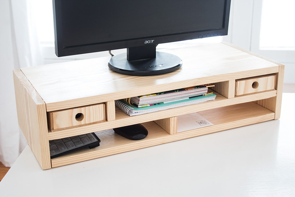 This DIY Monitor Riser Desk Organizer keeps my desk super clean and organized! Made of one wood board, it's budget-friendly! #organizer #woodworking