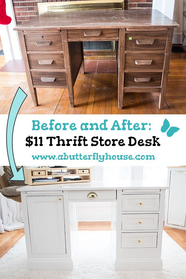 An $11 thrift store desk gets a makeover in this DIY Before and After! #FurnitureMakeover #ThriftedTransformations