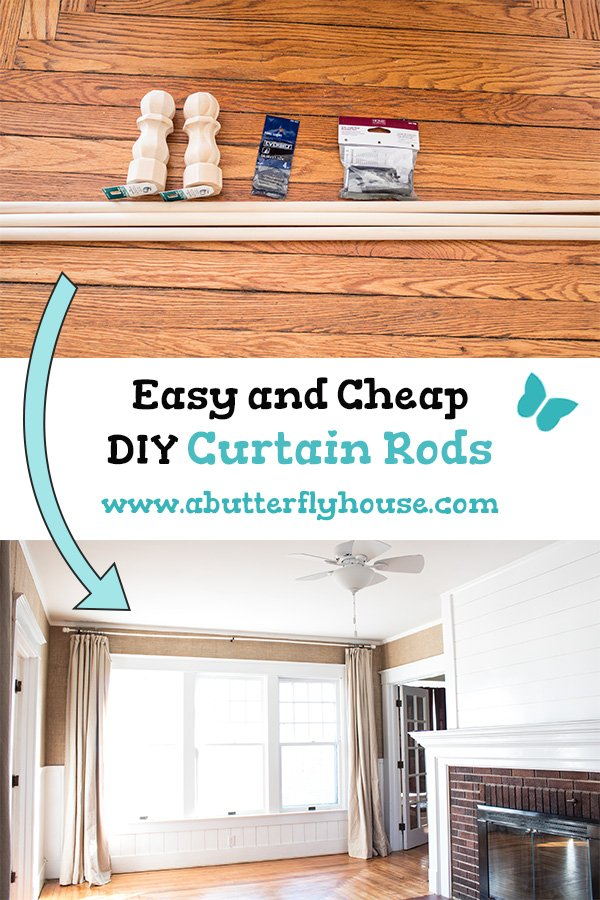 Make extra long DIY curtain rods on the cheap with this simple process! #WindowTreatments #CurtainRod