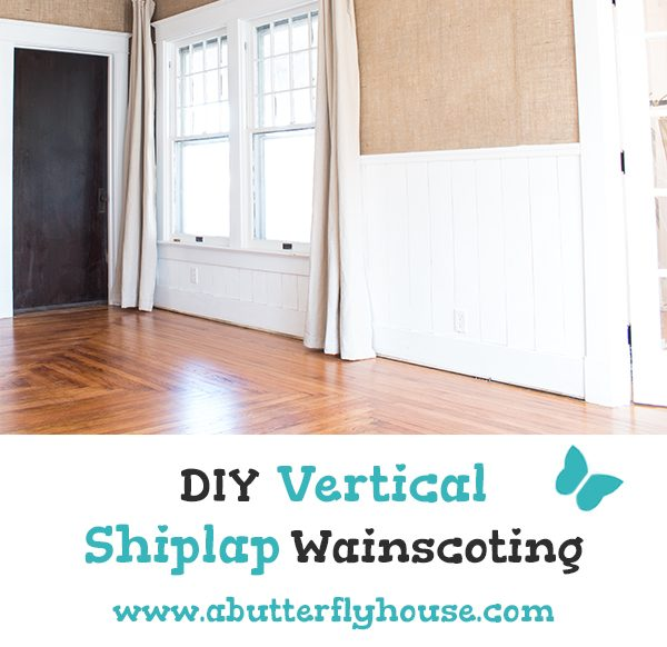 Love shiplap? Check out this DIY Vertical Shiplap Wainscoting, a timeless way to add shiplap to a room! #HomeImprovement #DIYShiplap