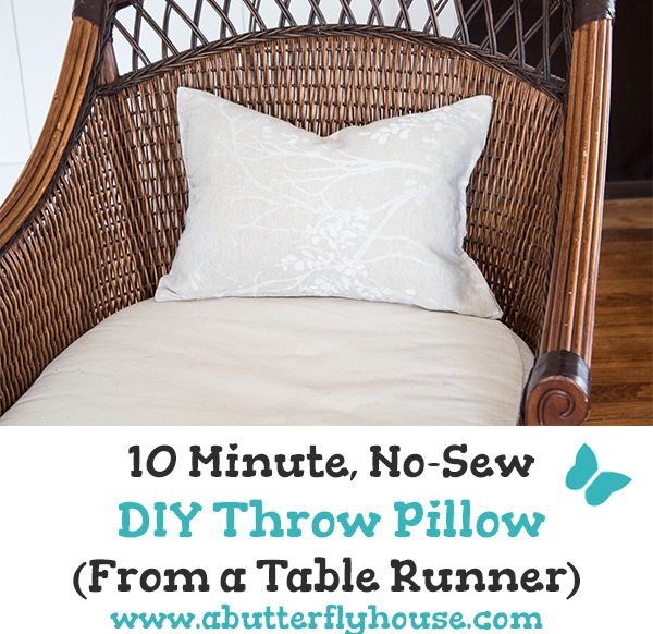 This no-sew DIY throw pillow idea is so easy; it will take you less than 10 minutes! Made from a table runner, it's simple and innovative! #DIYThrowPillow #DIYDecor