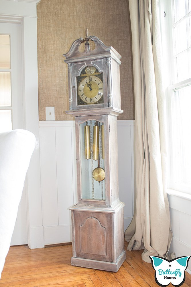 A particleboard grandfather clock gets a makeover in this easy but nerve-wracking DIY! #furnituremakeover #furnitureflip