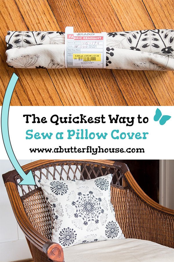 This quick and easy pillow cover is a perfect use for fabric remnants! #Sewing #Pillows