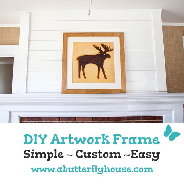 Make a wood frame for your best artwork with this easy DIY Frame for Large Artwork! Step-by-step tutorial takes you through the quick process! #diyframe #WallArt