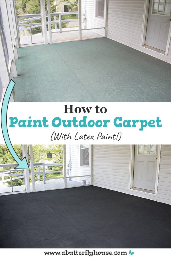 Ever wanted to change the color of carpet? Some latex paint and water is all you need to paint your outdoor carpet a different color with this tutorial! #homeimprovement #flooringideas