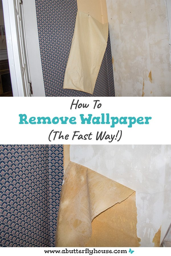 This is such a great method for quickly and easily removing wallpaper from your wall, plus it requires no extra tools! #AButterflyHouse #Wallpaper #WallpaperRemoval #DIY #DIYProjects #HowTo