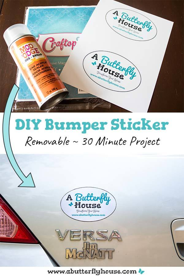 Learn how to make a removable bumper sticker for your car! An easy 30-minute DIY, this car step by step tutorial will show you how to make the perfect car decal! #DIYProjects