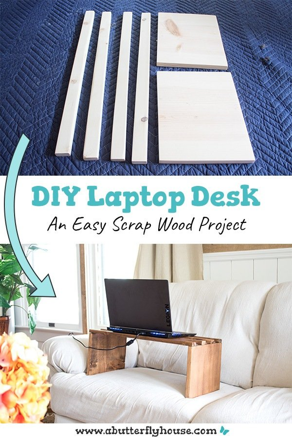 This easy DIY Laptop Desk has a simple solution to an overheating laptop- lift it up! Complete with full photo tutorial to a one hour scrap wood couch tray table! #ScrapWood #Woodworking