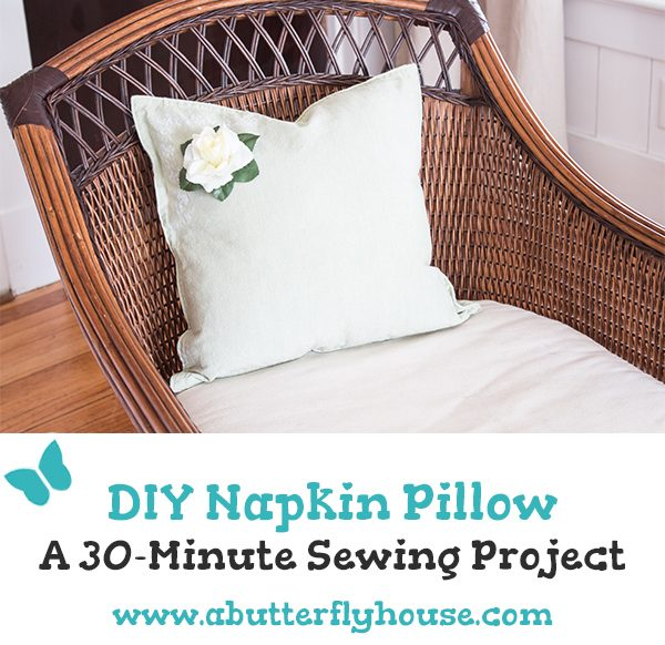 Need to change up your living room? Check out this easy DIY Pillow project- from napkins! #Pillows #DIYDecor