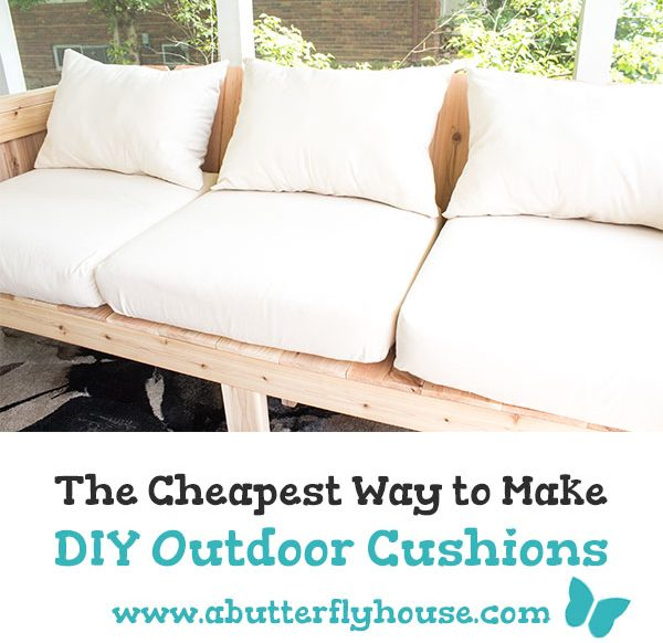 This full, step-by-step tutorial shows you how to make cheap DIY Outdoor Cushions. Some quick waterproof spray means they're weather friendly! #sewing #outdoor projects