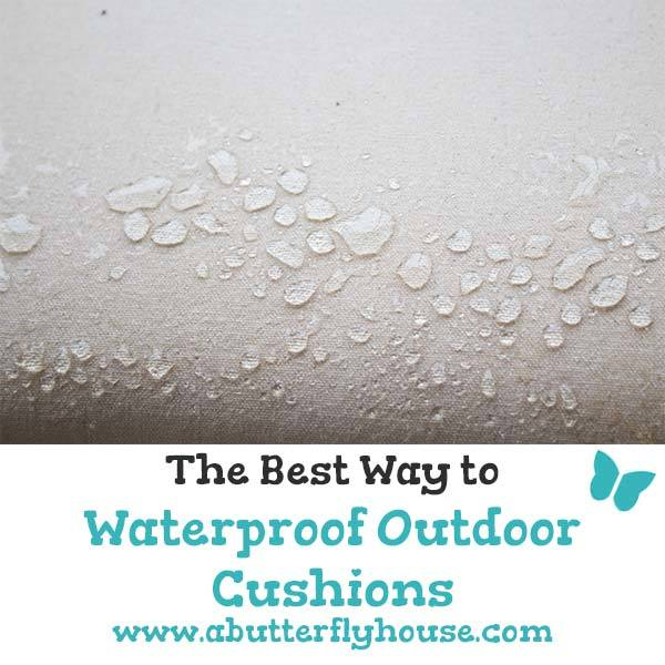This 10-minute process is by far the easiest way to waterproof outdoor cushions! #Sewing #Backyard