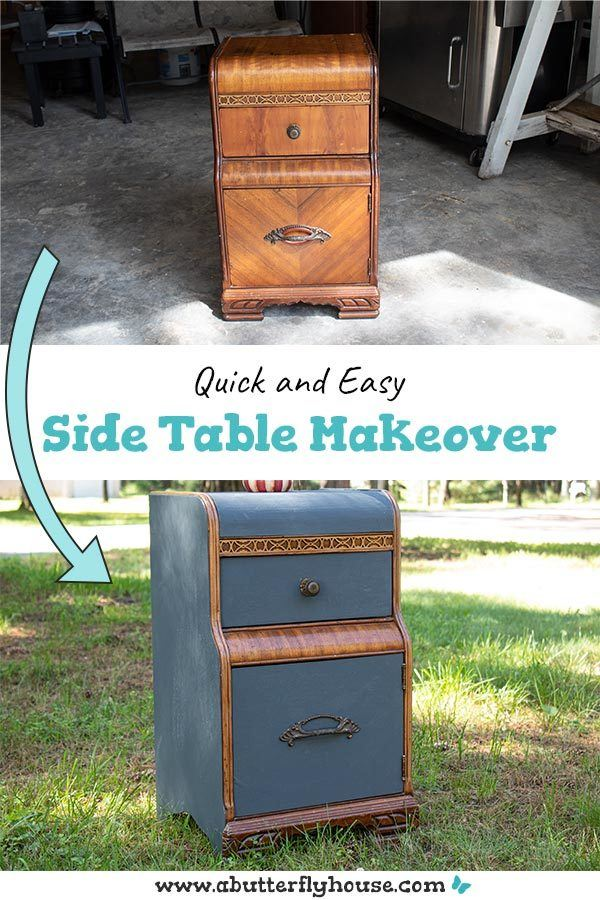 Learn how to remove veneer with this quick and easy side table makeover. Thrifted from a flea market, the nightstand was in terrible shape, but a little work goes a long way! #thrifted #furnitureflip