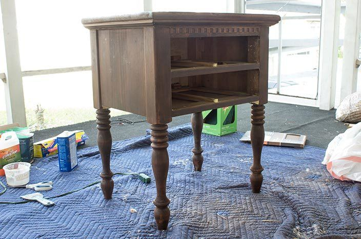 Two-toned thrifted nightstand before and after shows all the details of the transformation! #furnitureflip #thrifted