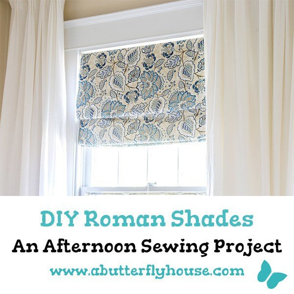These DIY Roman Shades are an easy afternoon sewing project that are the perfect covering for your window! #Shades #WindowTreatments