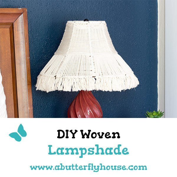 This DIY Woven Lampshade is easy to make and doesn't require any fancy macrame knots. A budget project to bring some texture to your lighting! #DIYProjects #Macrame