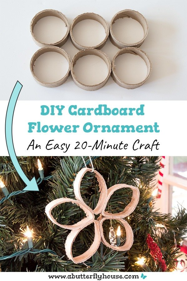 Love making DIY Christmas ornaments? Than this DIY Cardboard flower ornament is for you! Done in 20 minutes this Christmas ornament is perfect for the holidays! #DIYOrnaments #Christmas