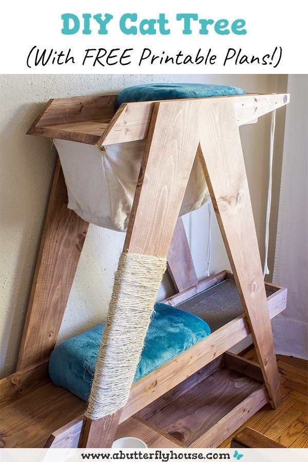 Build your own DIY Cat Tree with these free printable plans and detailed photo and video tutorial! #Woodworking #DIY