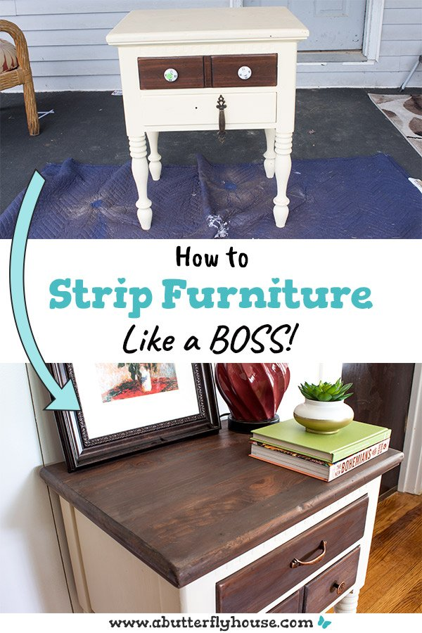 Stripping furniture is tricky. Learn all the tips and trick about how to strip furniture in this detailed guide! #furniturediy #furnitureflip