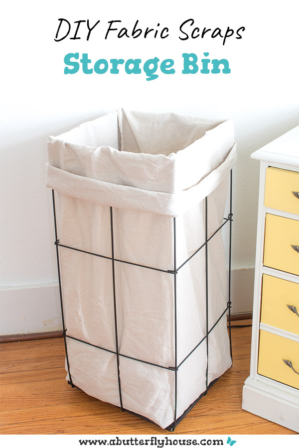 This DIY Fabric Scraps Storage bin is the best way to corral extra fabric from sewing projects! A quick afternoon project, this scrap bin - made from a drop cloth and tomato cage - is perfect for your craft room! #Storage #CraftRoom