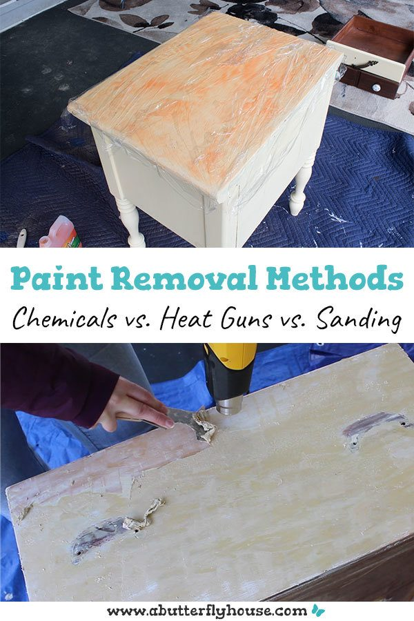 Learn the best way to remove paint from your project! Chemical paint strippers, heat guns and sanding are all discussed! #diy #homeimprovement