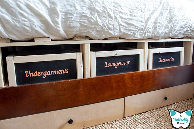 These DIY storage baskets can be made from scrap wood, and are inexpensive to purchase the materials for. They're large, sturdy, and super cute if you have a few woodworking skills! #storage #organization