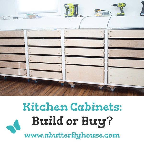 Should you build or buy your kitchen cabinets? I've gone both ways, so let me tell you exactly what you need to know if you're thinking of building your own cabinets. #woodworking