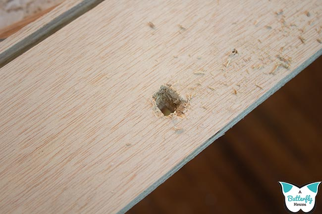 Hole from chisel