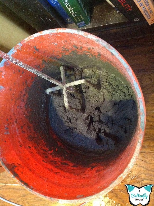 Mixed mortar that made drill smoke.